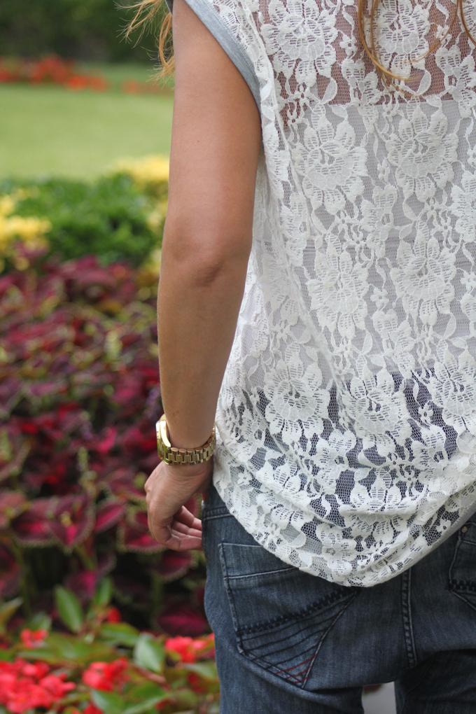 camiseta de encaje