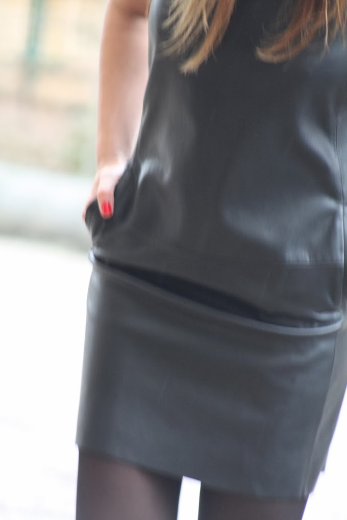 Vestido cuero Zara , botas moteras , LucíaDíez