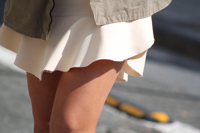 minifalda neopreno zara , chaqueta joya zara, camisa encaje , escuestiondestilo