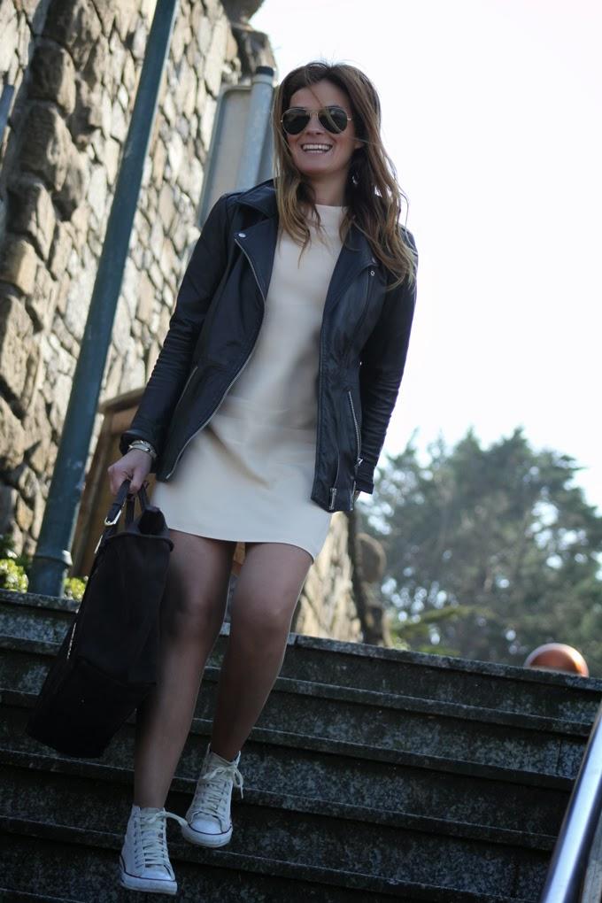 perfecto Zara , vestido Nude Zara , converse , Ray ban , escuestiondestilo , Lucia Diez