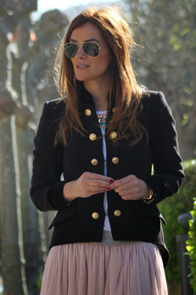 chaqueta militar , falda tul , escuestiondestilo , Lucía Díez , Ray Ban