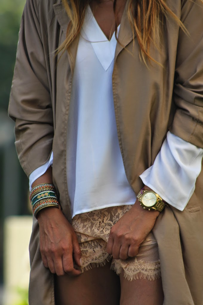 Sheinside, Brazalete, Michael Kors, Zara camisa , gabardina ,Lucía Díez , Es cuestion de estilo