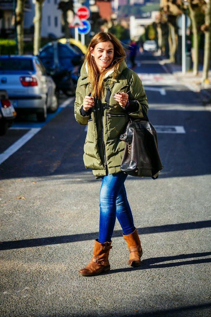 plumifero verde , street style, , lucia diez, Etro,botas