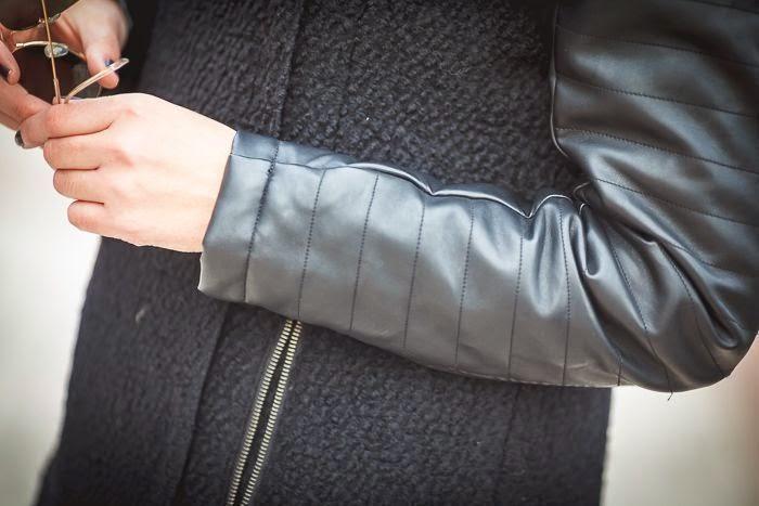 FREE QUENT ,es cuestion de estilo, Lucía Díez , abrigo lana y cuero , negro ,showroom Colette