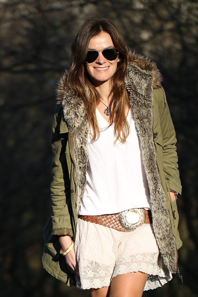 Parka Verde , vestido lencero,botas Evoka Shoes , Lucía Díez , street style, ,escuestiondestilo ,blog , Gafas Ray Ban,