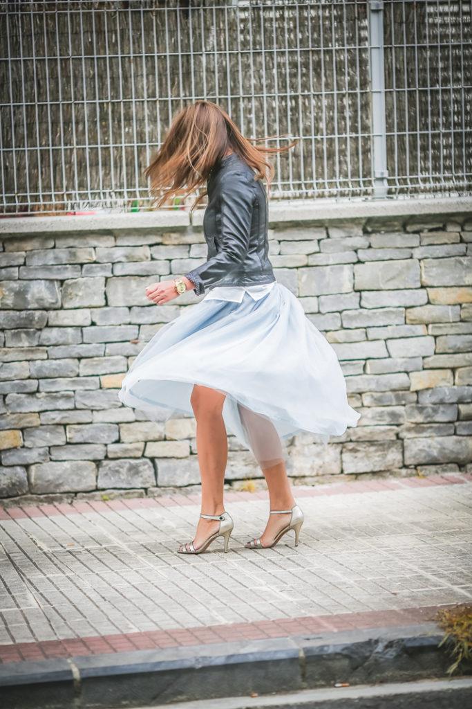 Falda tul , cuero , Kinue Boutique, Lucía Dçiez , Es cuestion de estilo, street style, estilo