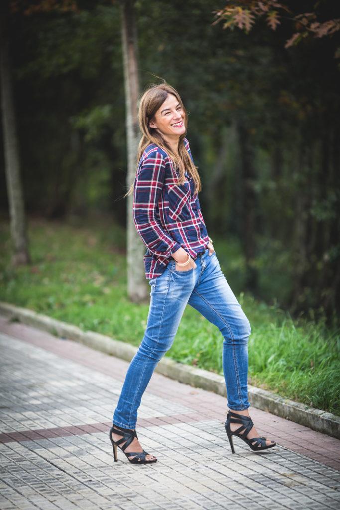 Tartán, camisa, Lucía Díez, es cuestion de estilo, Ainhoa Etxeberria, Massimo Dutti, Streetstyle,