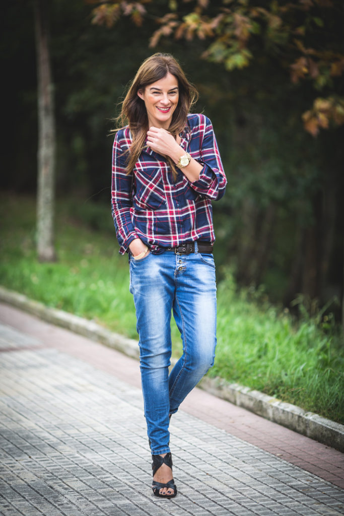 Tartán , camisa , Lucía Díez , es cuestion de estilo ,Ainhoa Etxeberria , Massimo Dutti