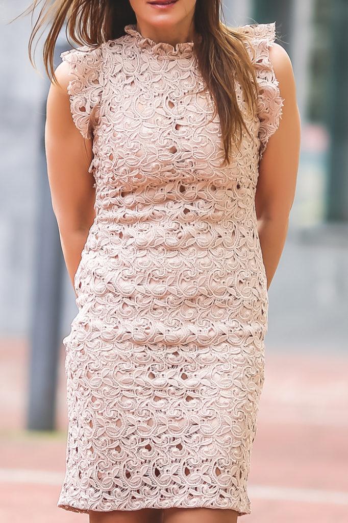 Stiletto nude , vestido encaje , rosa cuarzo , es cuestión de estilo, Lucía Díez,