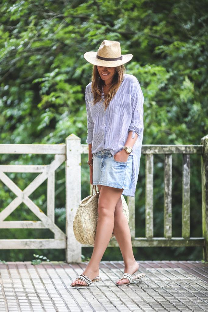 The Amity Company, , Es cuestión de estilo .Lucía Díez ,Personal Shopper , Camisa Rayas , cesto .