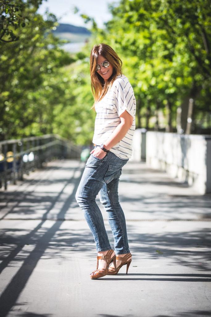 Rayas , camiseta , sandalias , Pedro Garcia ,street style ,es cuestión de estilo , personal shopper ,