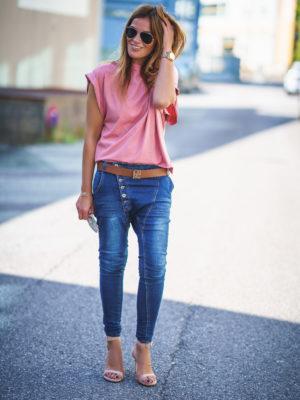 Camiseta Rosa Manga ancha