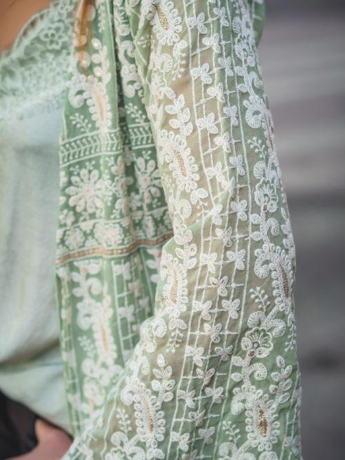 Kimono Bordado a Mano Verde