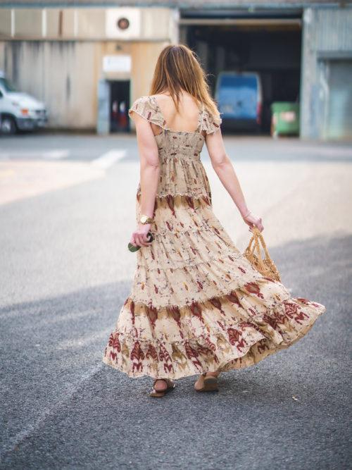 Vestido Seda Beige