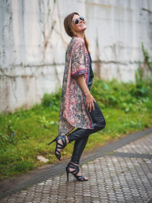 Kimono Seda Rojo/Beige