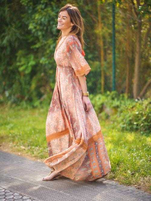Vestido Seda Pompones